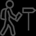 Illustrierter Wanderer, Icon für Betriebsausflüge bei AutOptik.